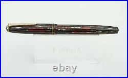 Parker Striped Duofold 1941 Vacumatic Red Black Pearl Set Case Restored