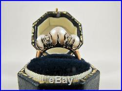 Pearl Diamond 14K White Gold Stud Earrings Pendent Necklace Set