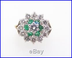 Pearl Enhancer Clip 1.33ct Diamond & Emerald Set Two Tone Gold Val $6040