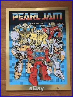 Pearl Jam Transformers AP 2015 NYC Gold Foil PLUS Silver Poster set New York SN