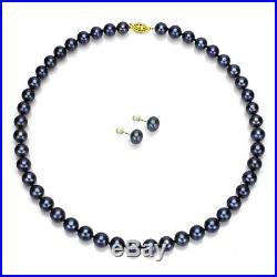 Pearl Necklace and Stud Earrings Set 14k Yellow Gold 8-9mm Black Freshwater