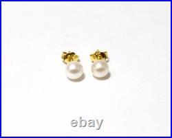 Perlen Schmuckset, Kette und Ohrringe, 585er Gelbgold