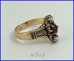Pierced Garnet and Seed Pearl Navette Set 14k Gold Ring