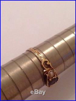 Pretty Antique Victorian 15ct Gold Almandine Garnet & Seed Pearl Set Ring