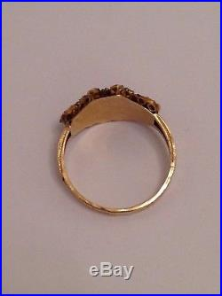 Pretty Antique Victorian 15ct Gold Garnet & Seed Pearl Set Ring