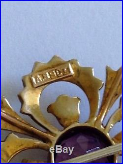 Pretty Victorian 9ct Gold Amethyst & Seed Pearl Set Pendant / Brooch