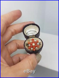 Pretty Vintage Coral and Pearl Ring Band Large Cluster Set In Yellow Gold