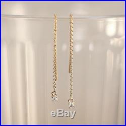Prong Set Diamond Drop Dangle Earrings, 14K Solid Gold Diamond Dangle Earrings