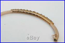 RARE CASED VICTORIAN HM 9ct ROSE GOLD LAPIS LAZULI & PEARL SET BANGLE 1898