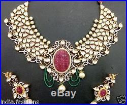 RUBY GREEN KUNDAN pearl jadau gold choker NECKLACE EARRING Designer SET