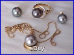 Rare 11mm Tahitian Black Pearl, Diamond & 14K Gold Ring, Earring, Pendant Set