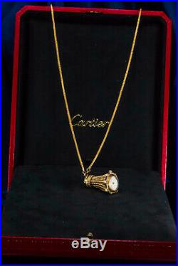 Rare 1960s Vintage Cartier Sapphire Gold & Pearl Set Rope Pendant Watch Necklace