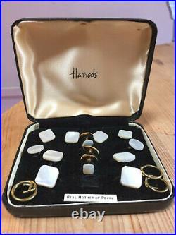 Rare Vintage 1950's Harrods Gentlemans' Mother Of Pearl Cufflinks & Stud Set