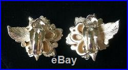 Rare Vintage Trifari Sorrento Earrings SetPearls/Rhinestones/Gold ToneSigned
