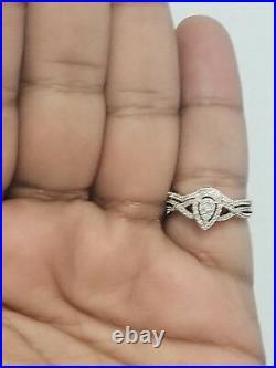 Real 10k Rose Gold Tear Drop Pear Shape Geniune Diamonds Bridal Set Wedding Ring