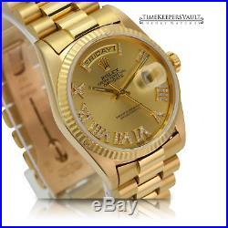 Rolex Watch Day-Date 18038 18K Yellow Gold Champagne Dial Diamond-Set Roman