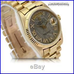 Rolex Watch Day-Date 18038 18K Yellow Gold Meteorite Dial Diamond-Set Roman