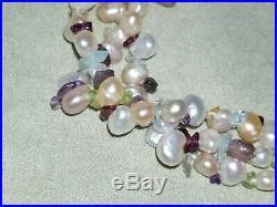 Ross Simons 14K yellow gold pastel pearl multi gemstone Necklace Bracelet set