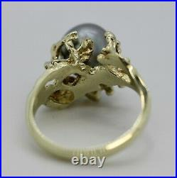 STUNNING 14K Yellow Gold Fancy Black Baroque Pearl in Coral Setting Ring Sz 6.5