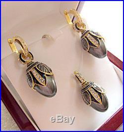 SUPERB EGG PENDANT & EARRINGS SET STERLING SILVER 925 & 24K GOLD with BLACK PEARL