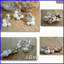 Schmuck Set Ohrringe und Anhänger mit Perlen u. Diamant 333 Gold 8k GG ° 2057