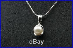 Schmuckset Halskette/Collier & 2 Ohrringe Damen 18k Weißgold mit Perlen