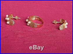 Schmuckset Ring Ohrringe Perlen echt 585 / 14k Gold