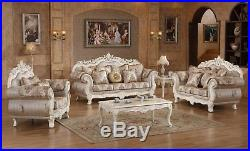 Serena Opulent Classic Upholstery Living Room Sofa&LoveSeat Set Pearl White Gold