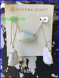 Set-Kendra Scott White Iridescent Isla Necklace & Nancy Drop Earrings Gold L@@K