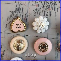 Set Of 10 Chanel Gucci Gold/Pink/White Button Zipper Pull Metal Pearl Rhinst
