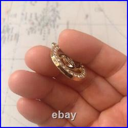 Set Of 4 Chanel CC Logo Stamped 24mm Metal Clear Rhinestones Pearl Zipper Pull