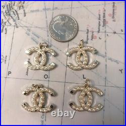 Set Of 4 Chanel CC Logo stamped Pearl Zipper Pull White/Gold 2520mm Metal