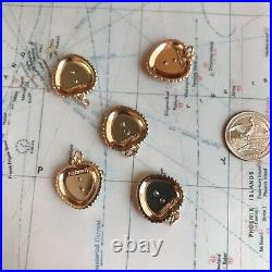 Set Of 5 Chanel Zipper Pull Flat Button 22.524mm Pink/Gold Pearl Metal