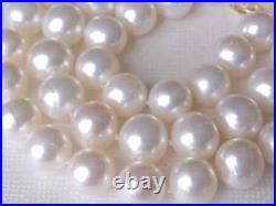 Set Of 9.5mm Aaa Genuine White Pearl Necklace & Earrings Solid 14k Yellow Gold
