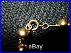 Set Vtg 14k Gold 7mm Ball Bead 15 Wheat Chain Necklace 8 Bracelet O-ring Close