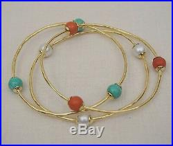Set of 3 Early Ippolita 18K Yellow Gold Bangle Bracelets Coral, Turquoise, Pearl