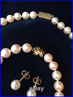 Set of Tiffany & Co. Akoya Pearls 16 Strand Rope Design 18K, PLUS EARRINGS