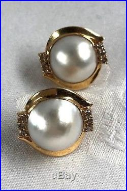 Signed 14k Solid Yellow Gold Mabe Pearl & Diamond Earrings & Pendant Set