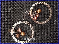 Silpada SET Tiger's Eye Bronze Pearl Pendant Necklace N1838 & Earring W1897
