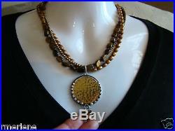 Silpada SET Tiger's Eye Bronze Pearl Pendant Necklace N1838 & Earring W1897 $208