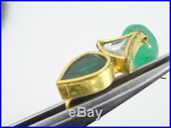 Solid 22k Gold Meenakari Faceted Emerald Bead Jade Drop Necklace Earrings Set