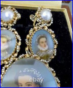 Spitzer & Furman 14K Gold Celluloid Pearl Miniatures Earring Pendant Brooch Set