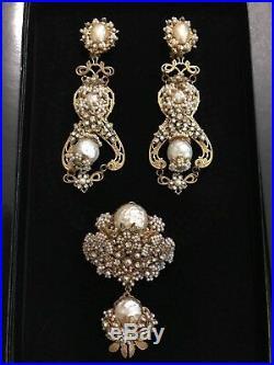 Stanley Hagler NYC Earrings & Brooch Gold Leaves Rhinestones Pearls