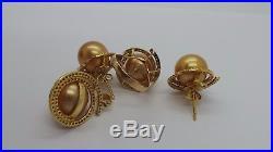 Stunning 14k Yg Set Of 14mm Golden South Sea Pearl Ring Earring Pendant E12716-2