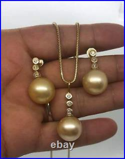 Stunning 9K Solid Gold Cultured South Sea Pearl & Diamond Set