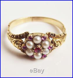 Stunning Antique Georgian Regency 15ct Gold Ruby & Pearl set Cluster Ring c1820