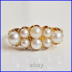 Stunning Antique Victorian 18ct Gold Pearl set Ring c1900 UK Size'N 1/2