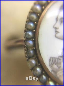 Stunning Georgian Sepia Miniature & Pearl Ring Band Set In 15ct Yellow Gold
