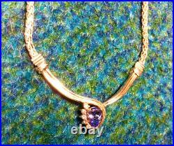 Stunning Gift! Tanzanite & 6 Diamond Pendant Necklace set in 14K Yellow Gold