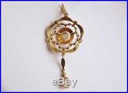 Stunning Murrle Bennett 15ct Gold Opal & Pearl set Pendant c1900